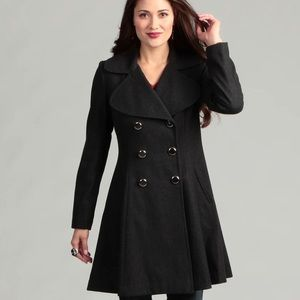JESSICA SIMPSON DOUBLE BREASTED WOOL PEA COAT GRAY